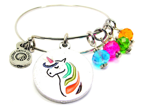Unicorn With Rainbow Hair And Crystals Expandable Bangle Bracelet