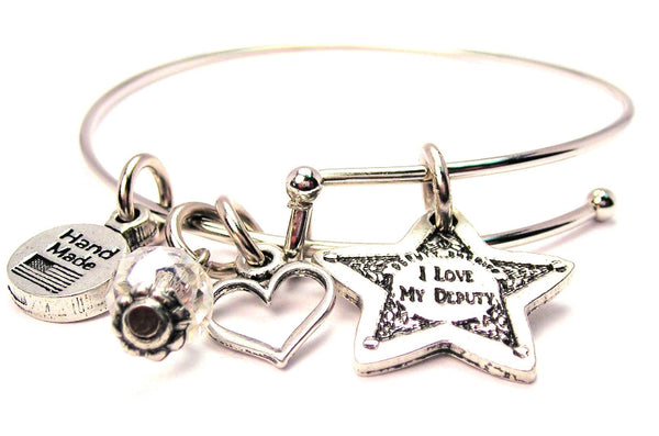 I Love My Deputy Bangle Bracelet