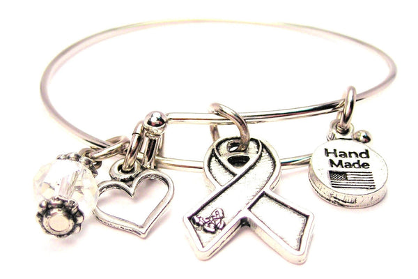 Awareness Ribbon With Butterfly Bangle Bracelet