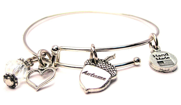 Autumn Acorn Expandable Bangle Bracelet