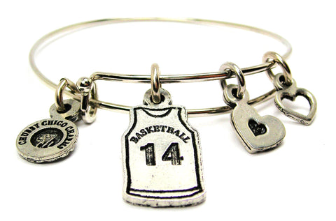 Basketball Jersey Choose Your Number Adjustable Wire Bangle Bracelet