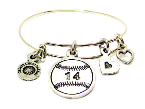Baseball Softball Choose Your Number Adjustable Wire Bangle Bracelet