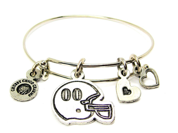 Football Helmet Choose Your Number Adjustable Wire Bangle Bracelet