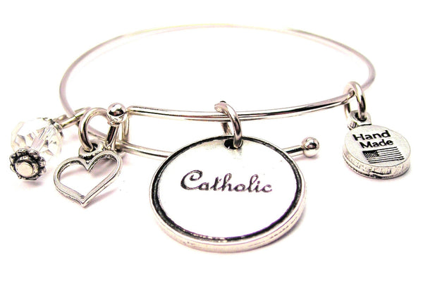 Catholic Circle Expandable Bangle Bracelet