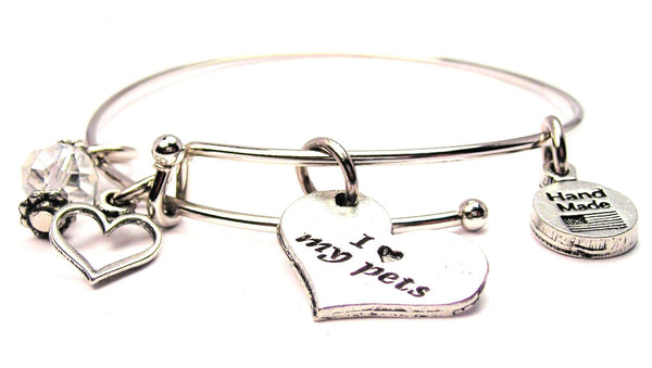 I Love My Pets Heart Bangle Bracelet