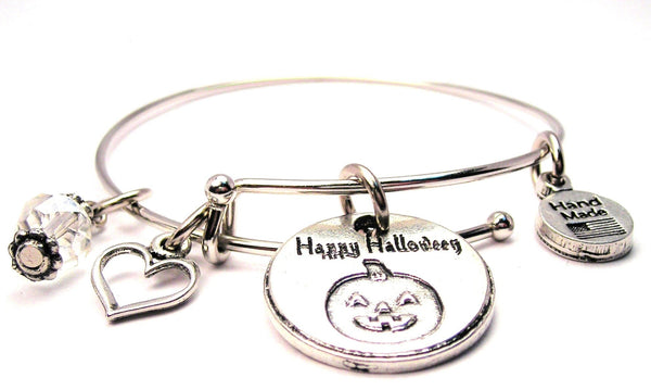 Happy Halloween With Pumpkin Bangle Bracelet