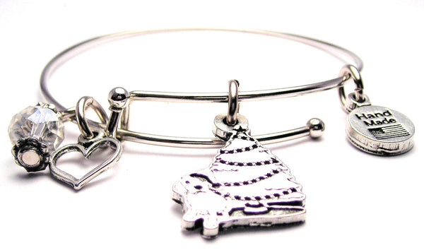 Puppy Under The Christmas Tree Bangle Bracelet