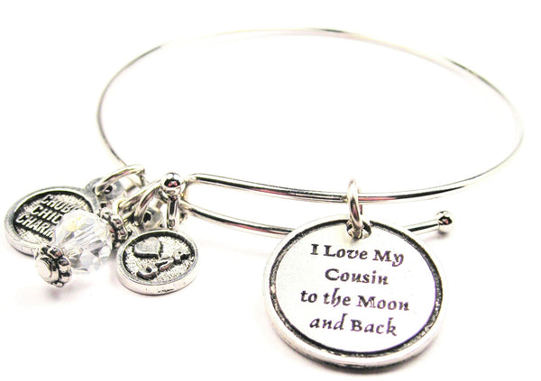 I Love My Cousin To The Moon And Back Bangle Bracelet