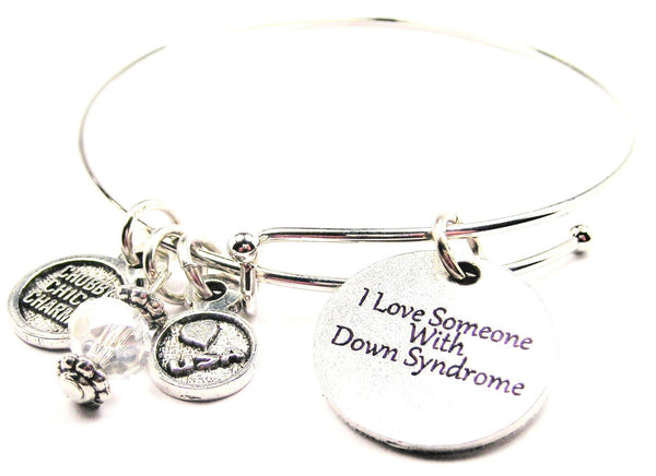I Love Someone With Down Syndrome Expandable Bangle Bracelet