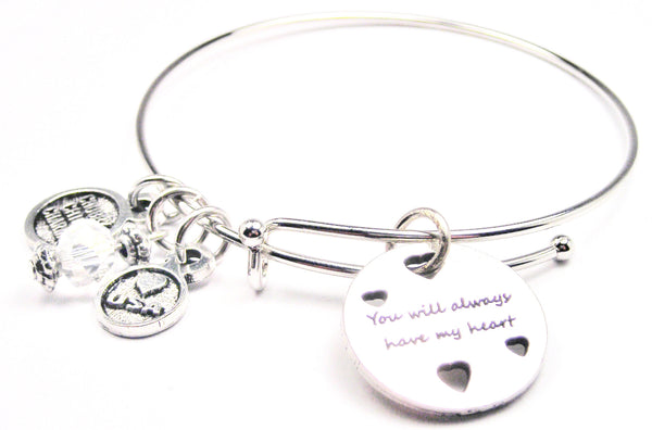 You Will Always Have My Heart With Hearts Expandable Bangle Bracelet