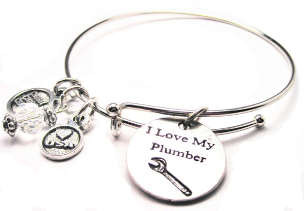 I Love My Plumber Bangle Bracelet