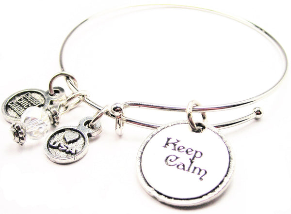 Keep Calm Circle Expandable Bangle Bracelet