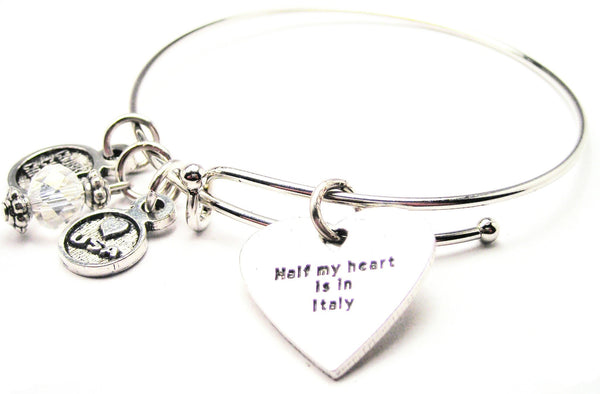 Half My Heart Is In Italy Bangle Bracelet