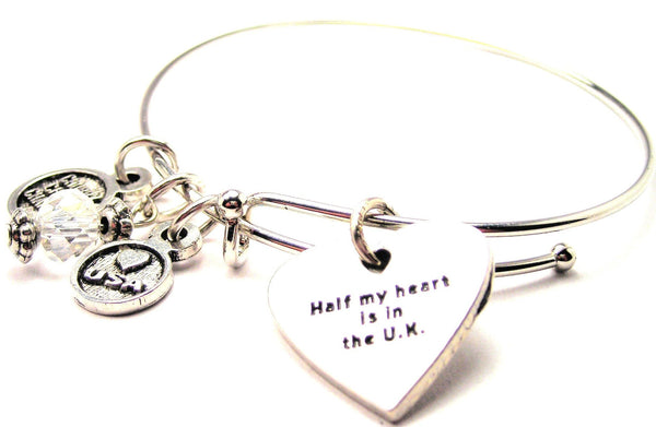 Half My Heart Is In The U.K. Bangle Bracelet