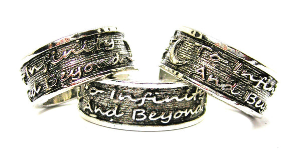 To Infinity And Beyond Sterling Silver Plated Unisex Cuff Ring