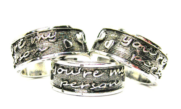 You're My Person Sterling Silver Plated Unisex Cuff Ring