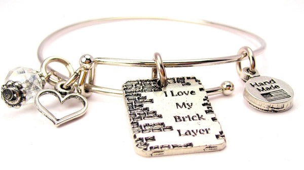 I Love My Brick Layer Expandable Bangle Bracelet