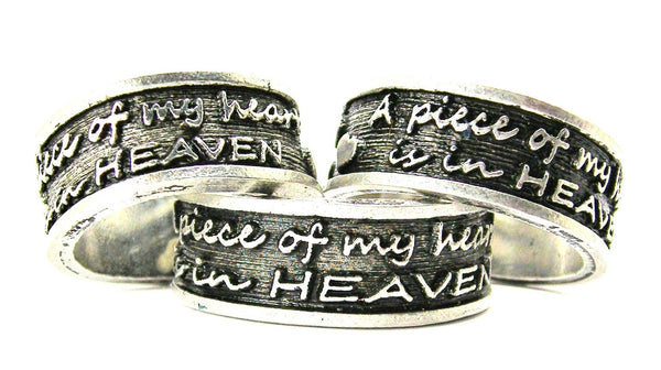 A Piece Of My Heart Is In Heaven Sterling Silver Plated Unisex Cuff Ring