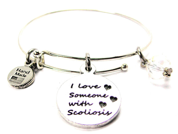 I Love Someone With Scoliosis Bangle Bracelet