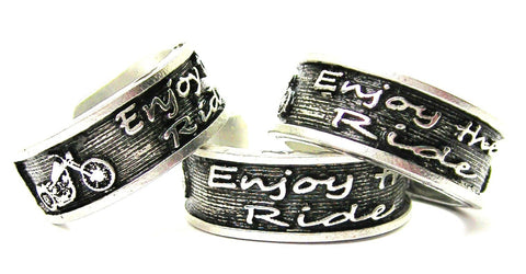 Enjoy The Ride Sterling Silver Plated Unisex Cuff Ring