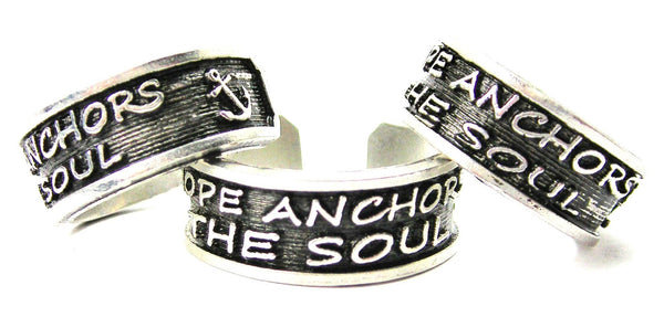 Hope Anchors The Soul Sterling Silver Plated Unisex Cuff Ring