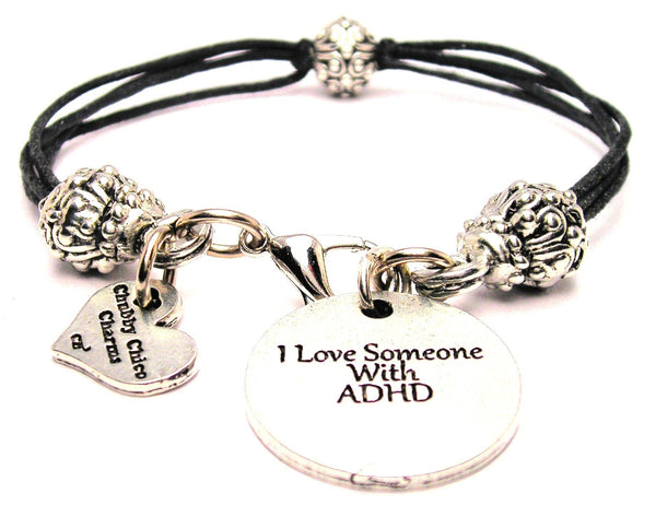 I Love Someone With ADHD Beaded Black Cord Bracelet