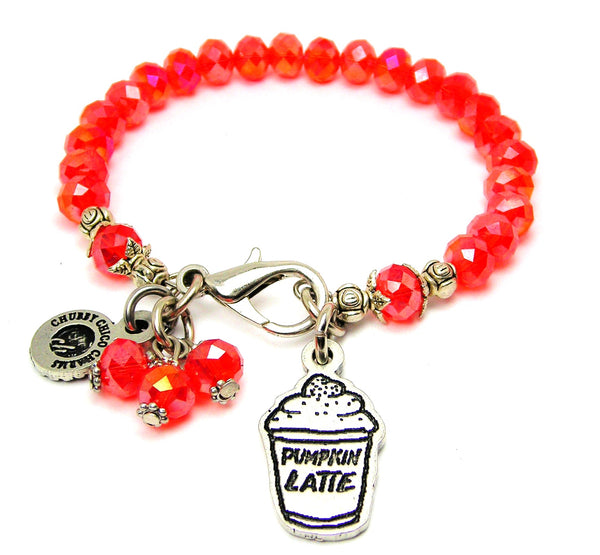 Pumpkin Spice Latte Pumpkin Latte Charm Splash Of Color Crystal Bracelet