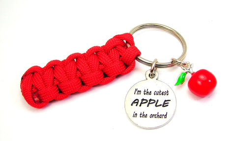 I'm The Cutest Apple In The Orchard Charm Paracord 550 Military Spec Paracord Key Chain