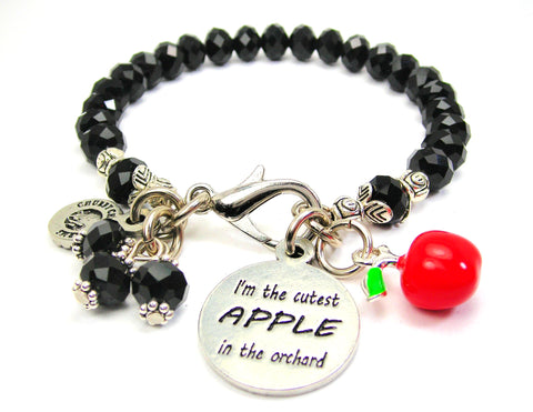 I'm The Cutest APPLE In The Orchard With Apple Charm Splash Of Color Crystal Bracelet