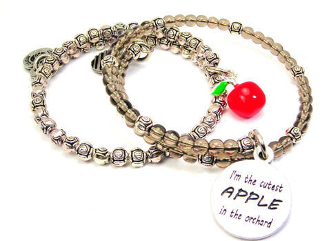 I'm The Cutest Apple In The Orchard Delicate Glass And Roses Wrap Bracelet Set