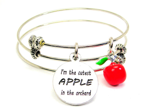 I'm The Cutest APPLE In The Orchard With Apple Charm Triple Style Expandable Bangle Bracelet