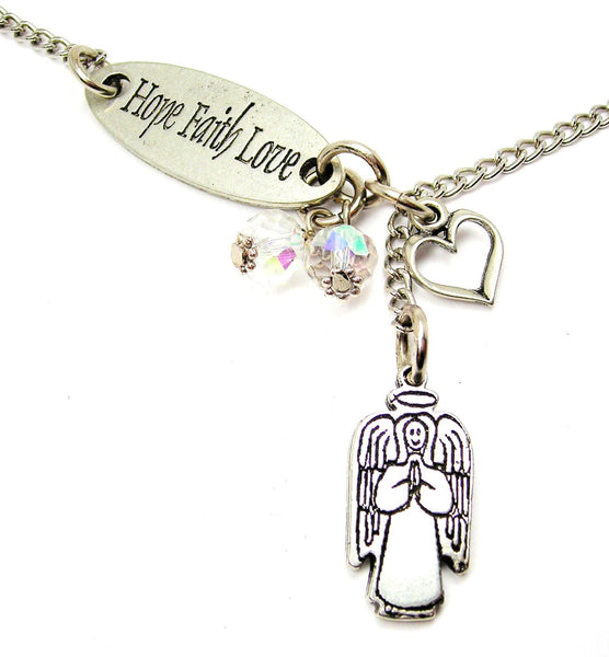Hope Faith Love And Smiling Angel With Halo Lariat Necklace