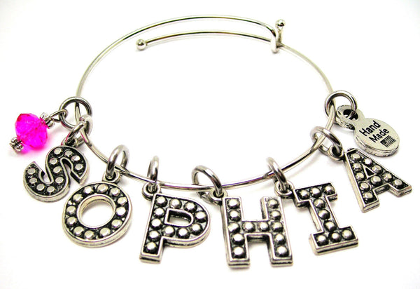 Any Name Single Stacker Expandable Bangle Bracelet
