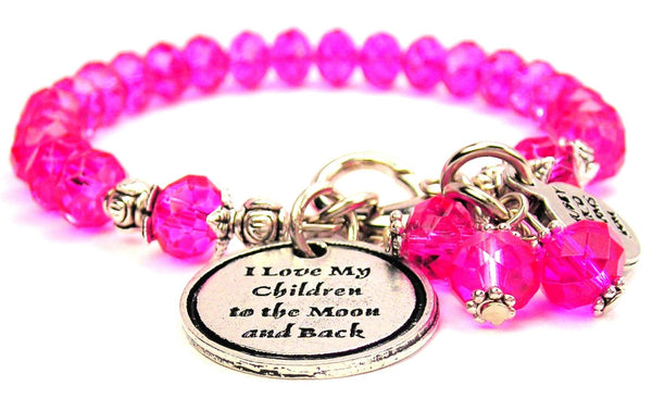 I Love My Children To The Moon And Back Splash Of Color Crystal Bracelet