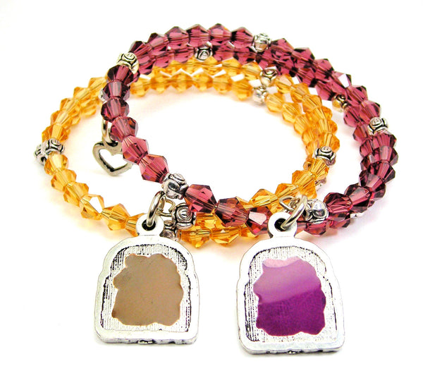 Peanut Butter And Jelly Bicone Wrap Bracelets