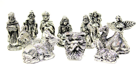 12 Piece Pewter Nativity Set - gifts - Chubby Chico Charms