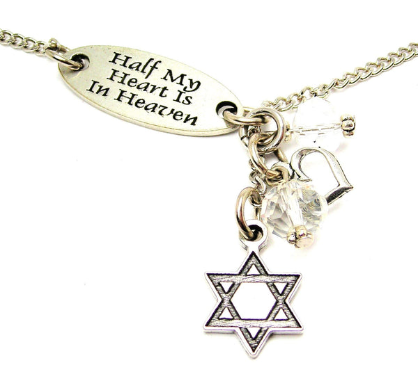 Half My Heart Is In Heaven And Engraved Star Of David Lariat Necklace