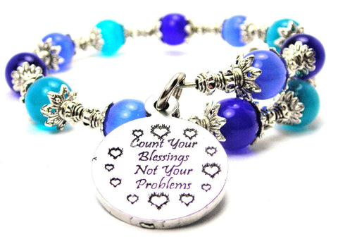 Count Your Blessings Not Your Problems Cats Eyes Glass Beaded Wrap Bracelet