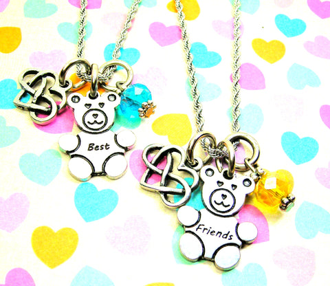 Set Of 2 Best Friends Bears With Infinity Heart Necklaces