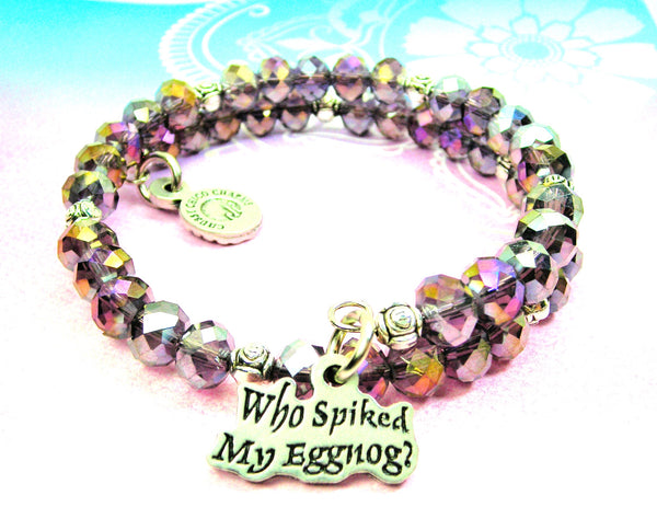 Who Spiked My Eggnog? Crystal Wrap Style Bangle Bracelet