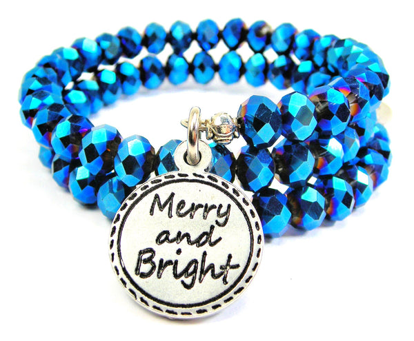 Holiday Merry And Bright Wrap Style Metallic Sapphire Bangle Bracelet