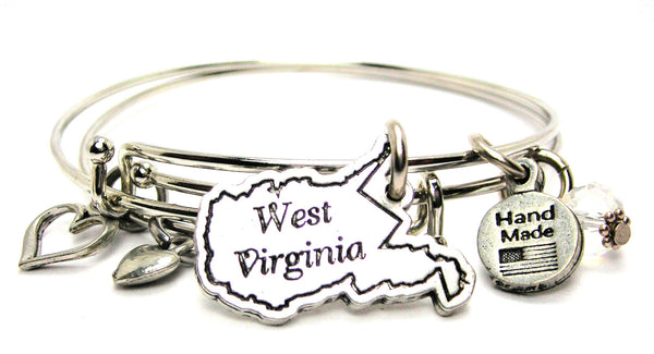 West Virginia Expandable Bangle Bracelet Set
