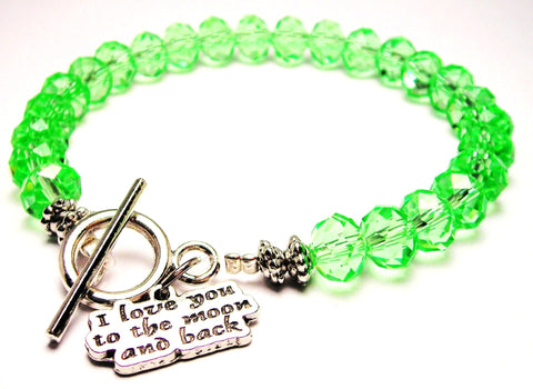 I Love You To The Moon And Back Crystal Beaded Toggle Style Bracelet