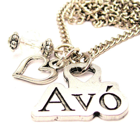 Avó Portuguese Grandmother Necklace with Small Heart