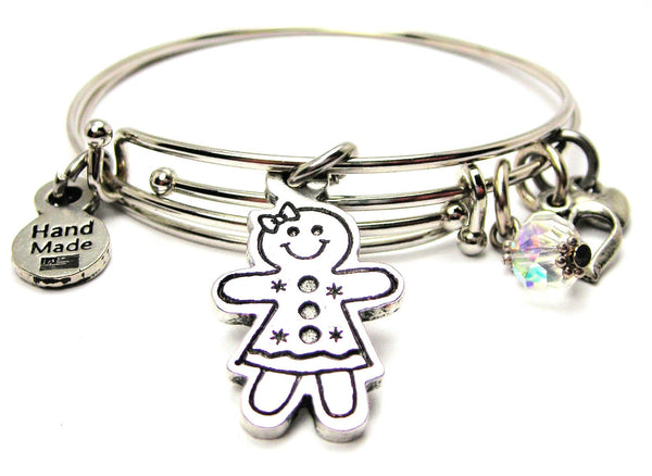 Gingerbread Girl Expandable Bangle Bracelet Set