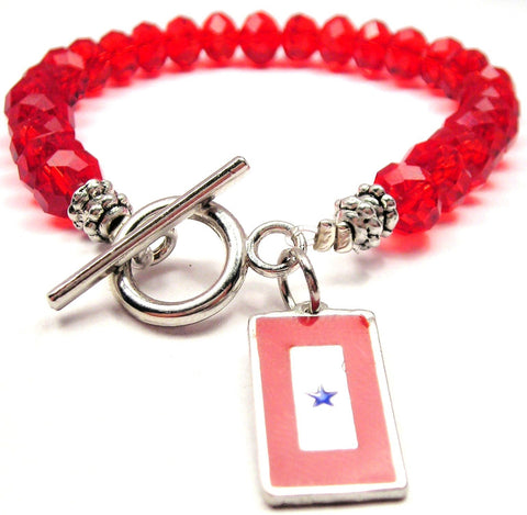 Blue Star Mother Flag Crystal Beaded Toggle Style Bracelet