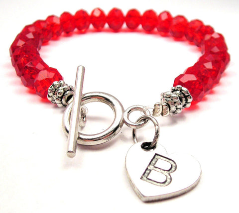 Initial B On A Heart Crystal Beaded Toggle Style Bracelet