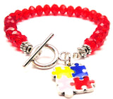 Autism Hand Painted Puzzle Pieces Crystal Beaded Toggle Style Bracelet