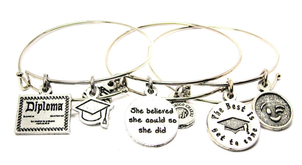 Diploma The Best Is Yet To Come She Believe She Could So She Did  Trio Expandable Bangle Bracelet Set