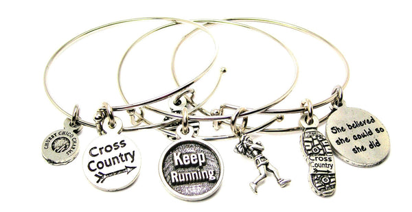 Cross Country Runner She Believe She Could So She Did Trio Expandable Bangle Bracelet Set